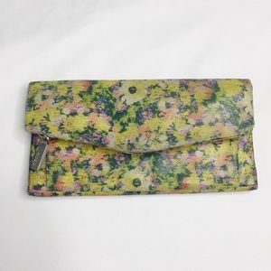 HOBO Yellow Floral Tri-fold Wallet
